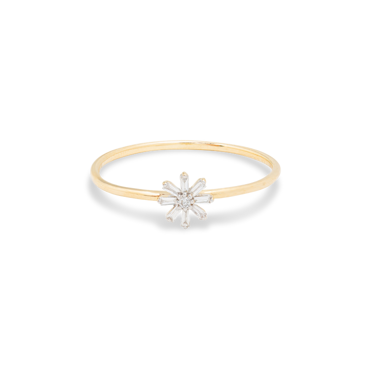 Baguette Diamond Flower Ring