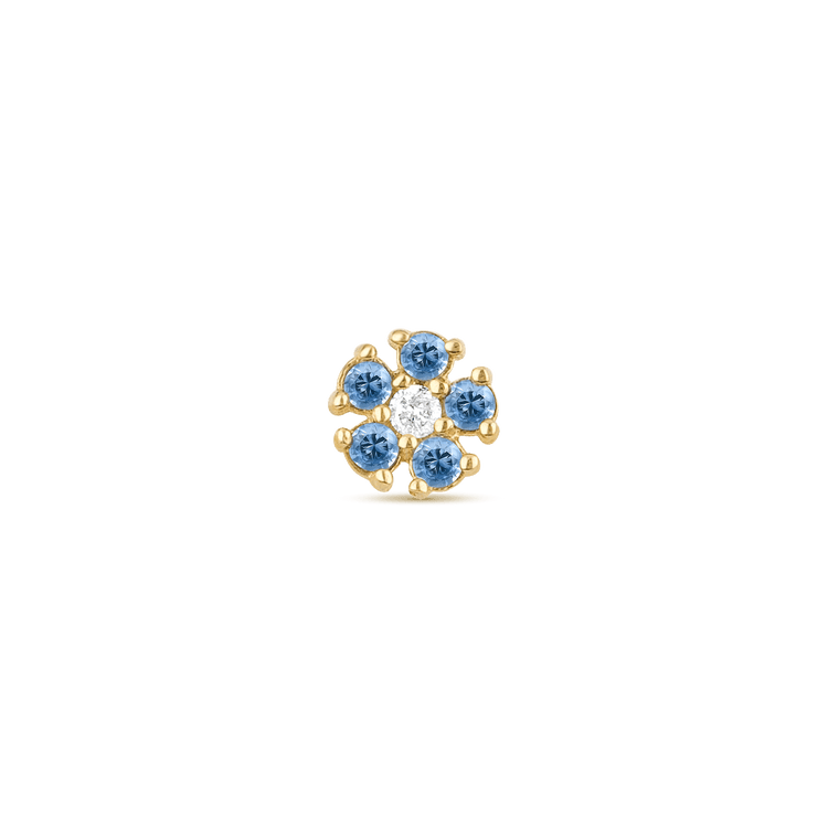 Blue Sapphire and Diamond Flower Stud