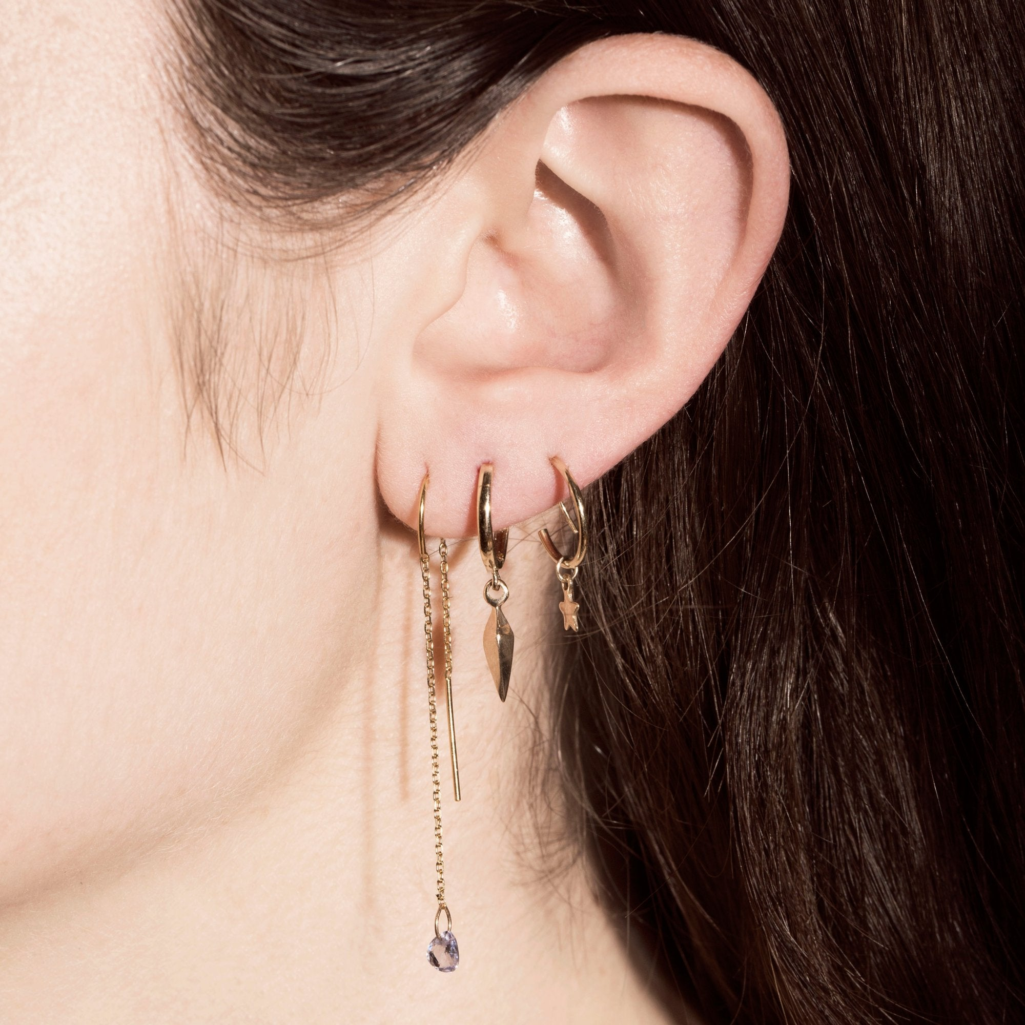 Blue Threader Earring