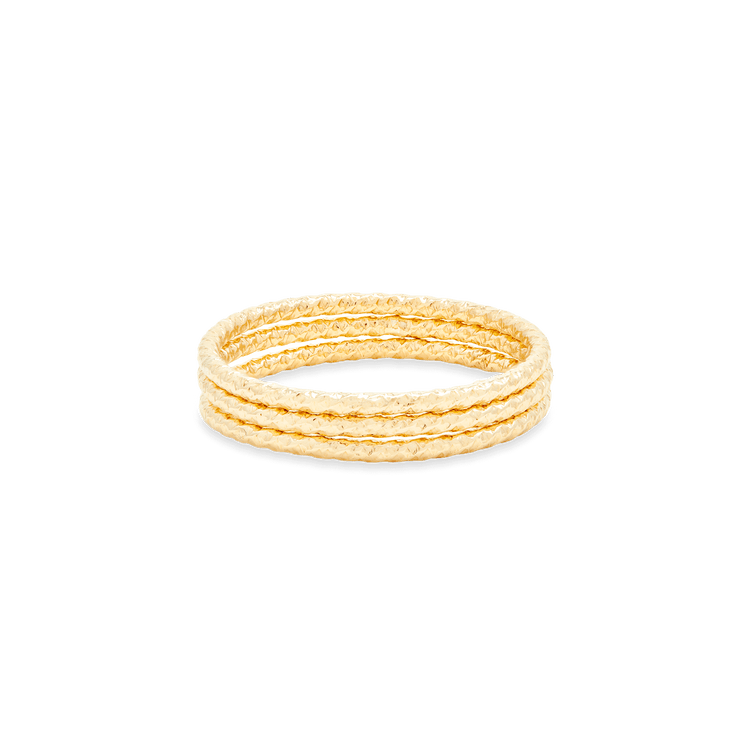 Gold Filled Textured Bands Set