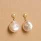 Gold Plated Perfectly Imperfect Baroque Pearl Drop Earrings