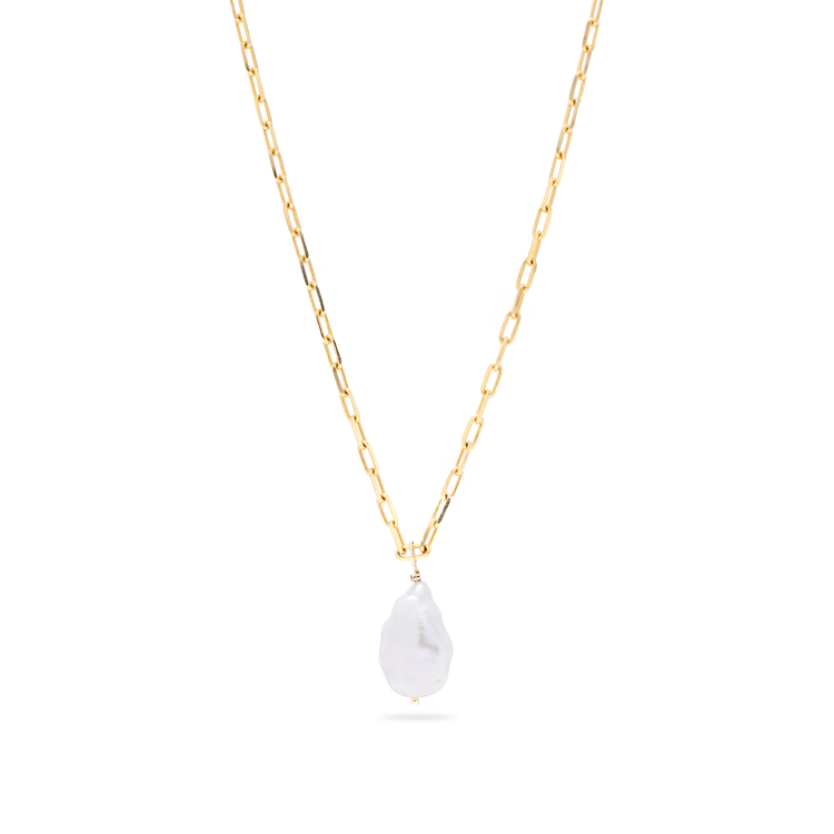 Gold Plated Perfectly Imperfect Baroque Pearl Necklace
