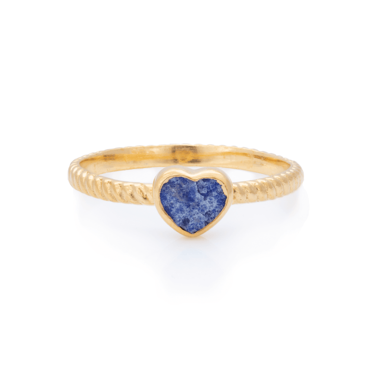 Gold Vermeil Lapis Heart Inlay Twist Ring