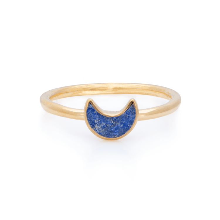 Gold Vermeil Lapis Moon Inlay Ring