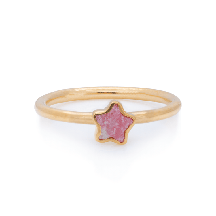 Gold Vermeil Pink Labradorite Star Inlay Ring