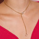 Luxe Diamond Chain Lariat Necklace
