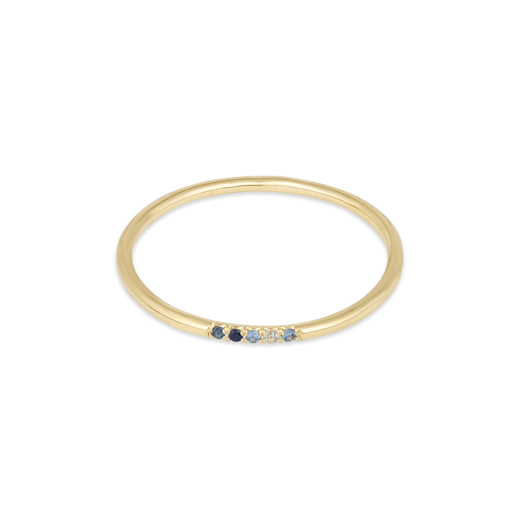 Mixed Blue Sapphire Pave Band