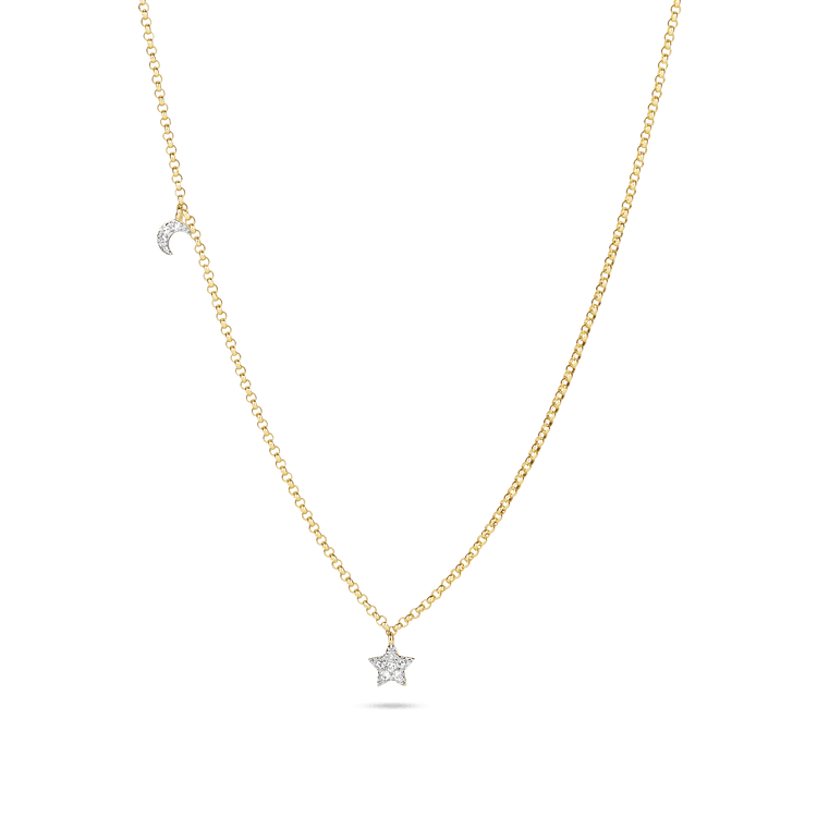 Moon and Star Pave Diamond Necklace