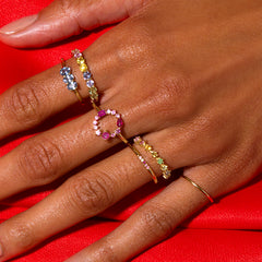 Mixed pink sapphire pave band