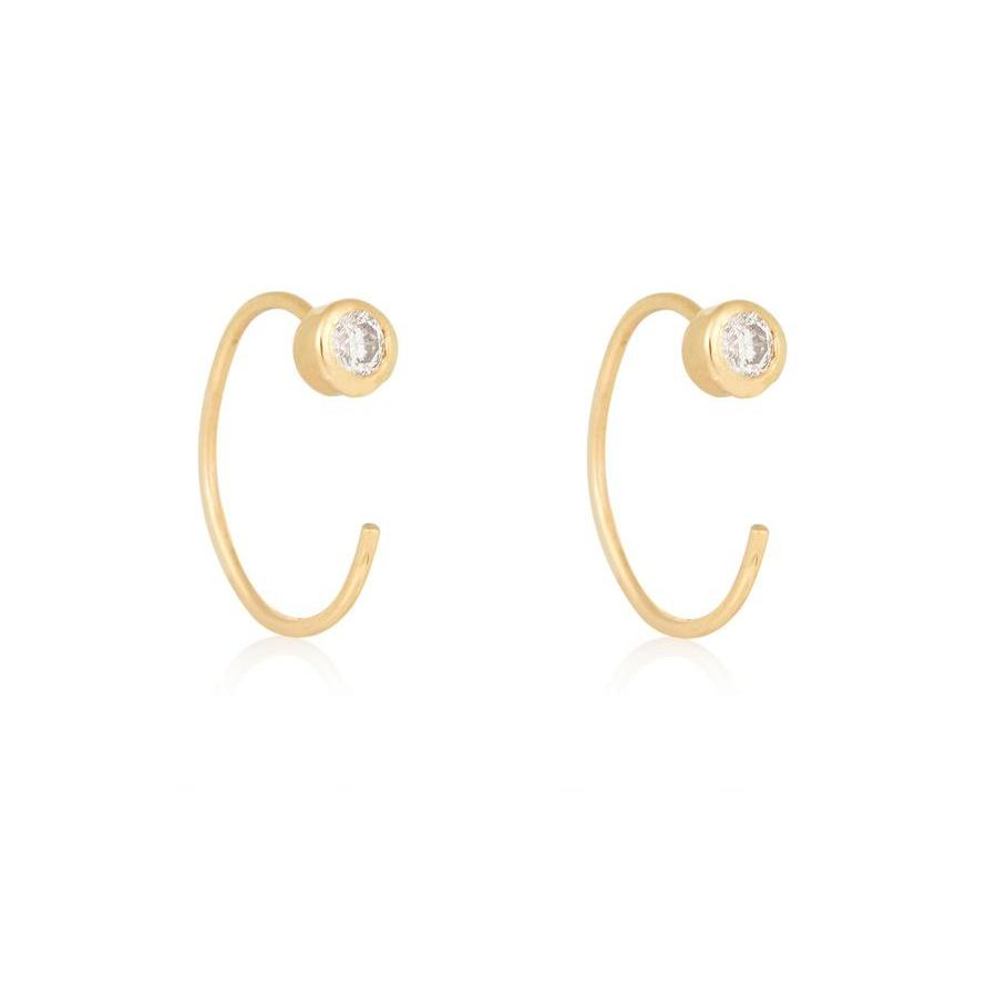 Tiny Diamond Open Huggie Earring