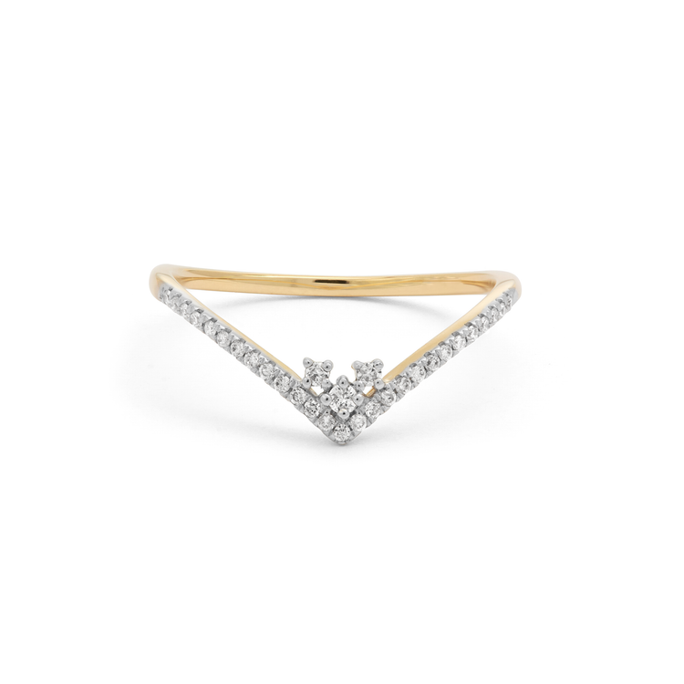 Pave Curved Combo Stacker Ring