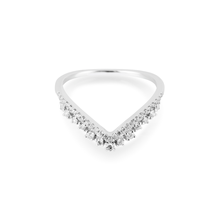 White Gold Pave Diamond Curve Band