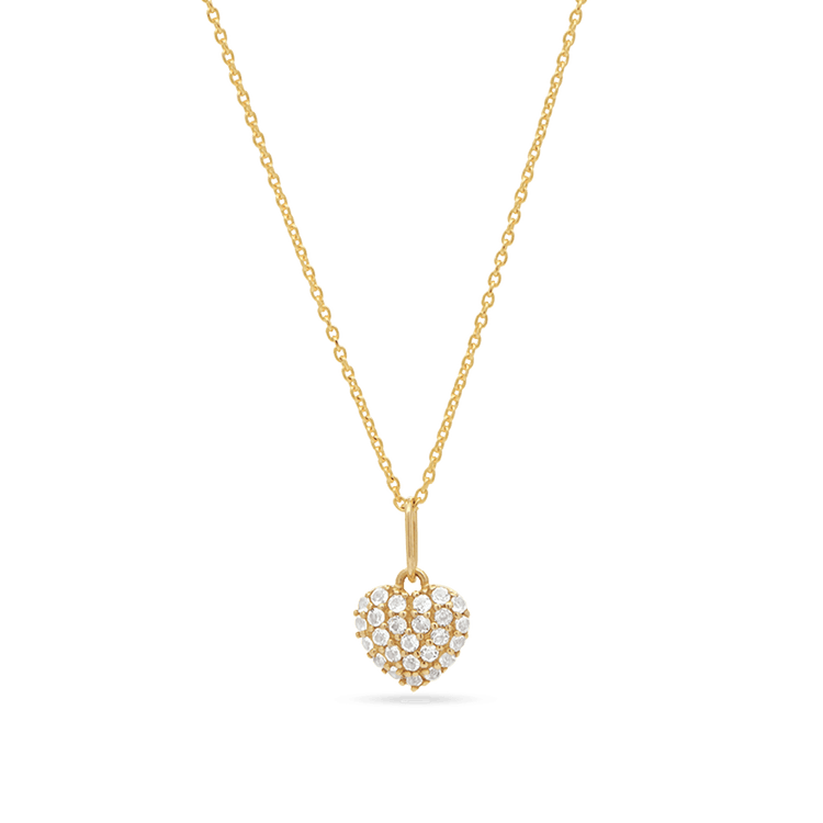 Pave Topaz Puffed Heart Pendant