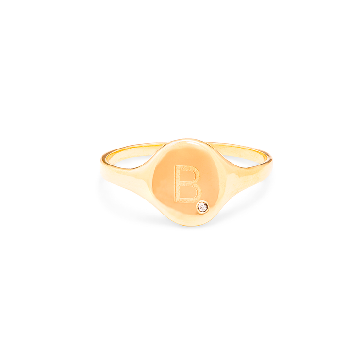 Personalized Oval Signet Ring with Diamond