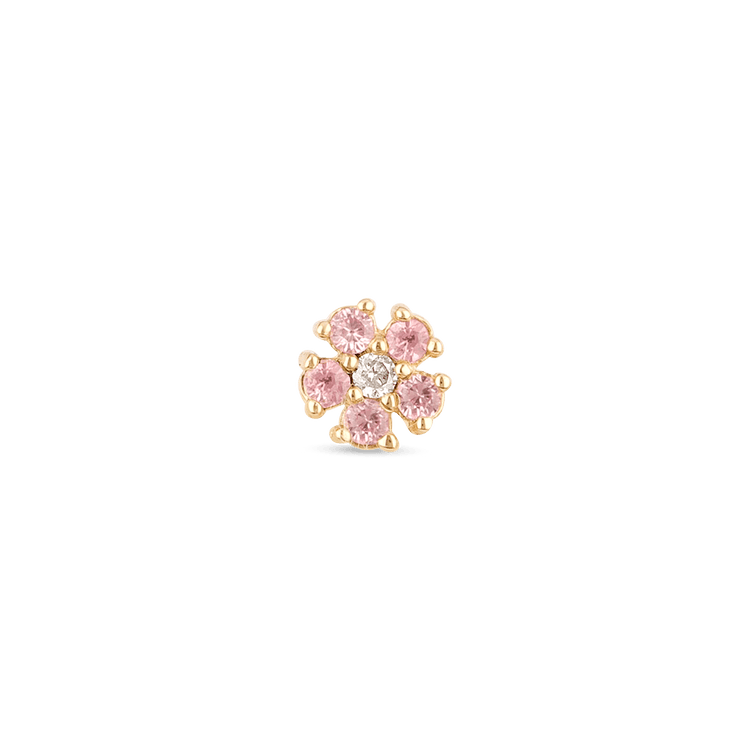Pink Sapphire and Diamond Flower Stud