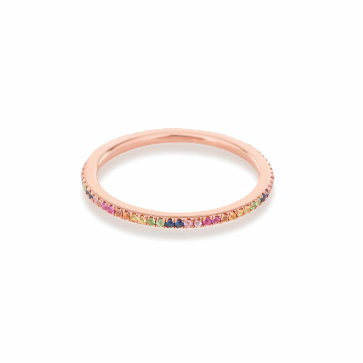 Rose Gold Rainbow Sapphire Pave Eternity Band