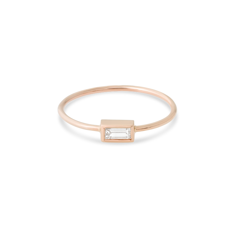 Rose Gold Small Baguette Diamond Ring
