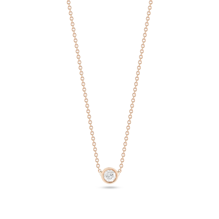 Rose Gold Small Round Diamond Necklace