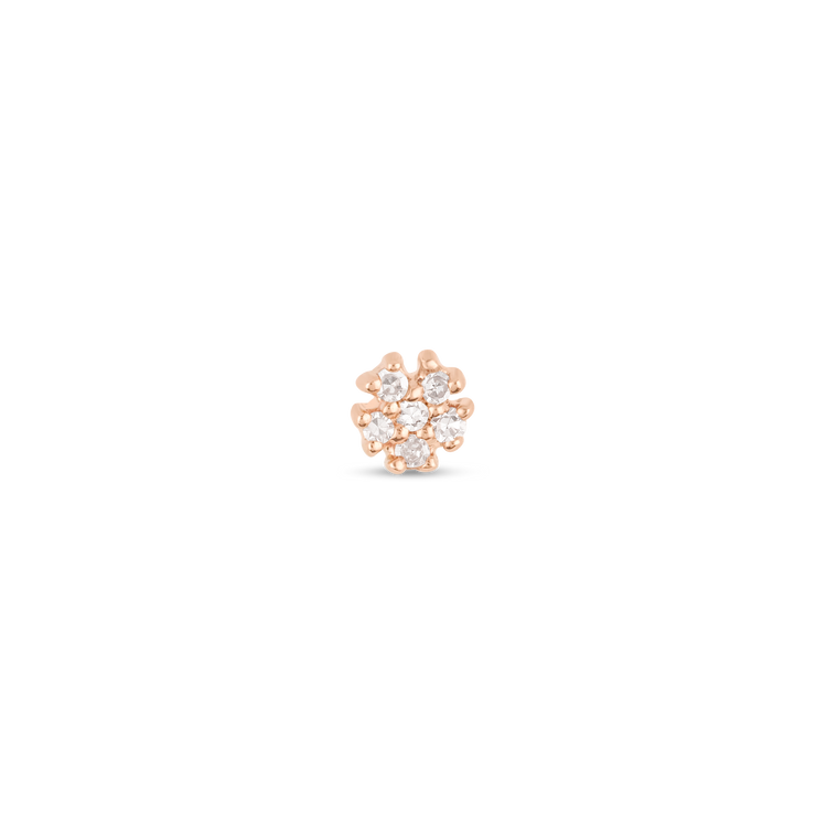 Rose Gold Teeny Diamond Flower Stud