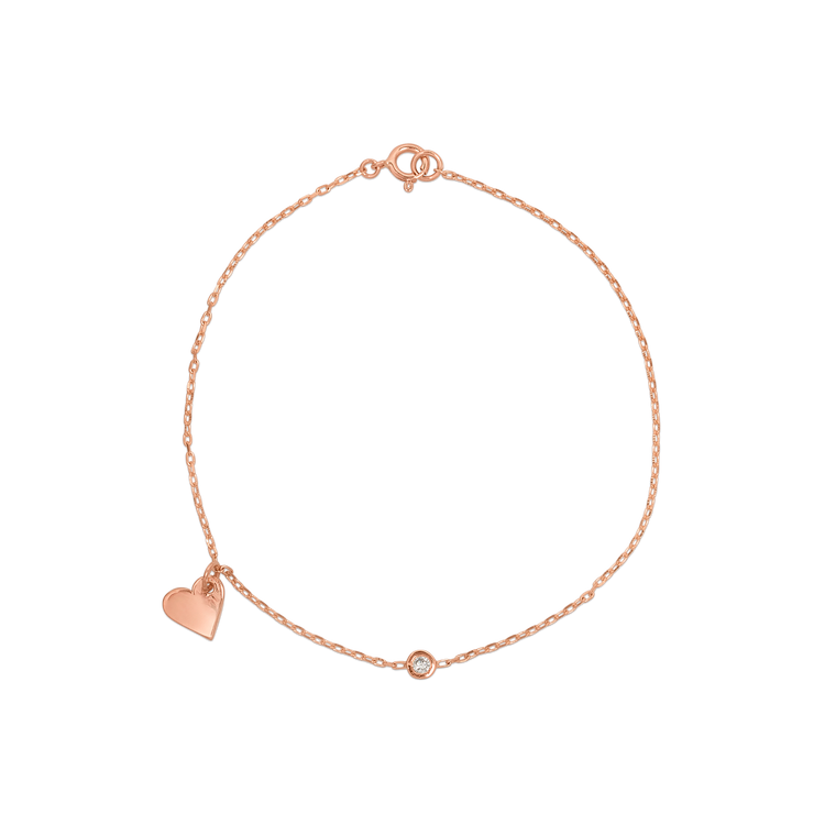 Rose Gold Tiny Diamond Heart Charm Bracelet