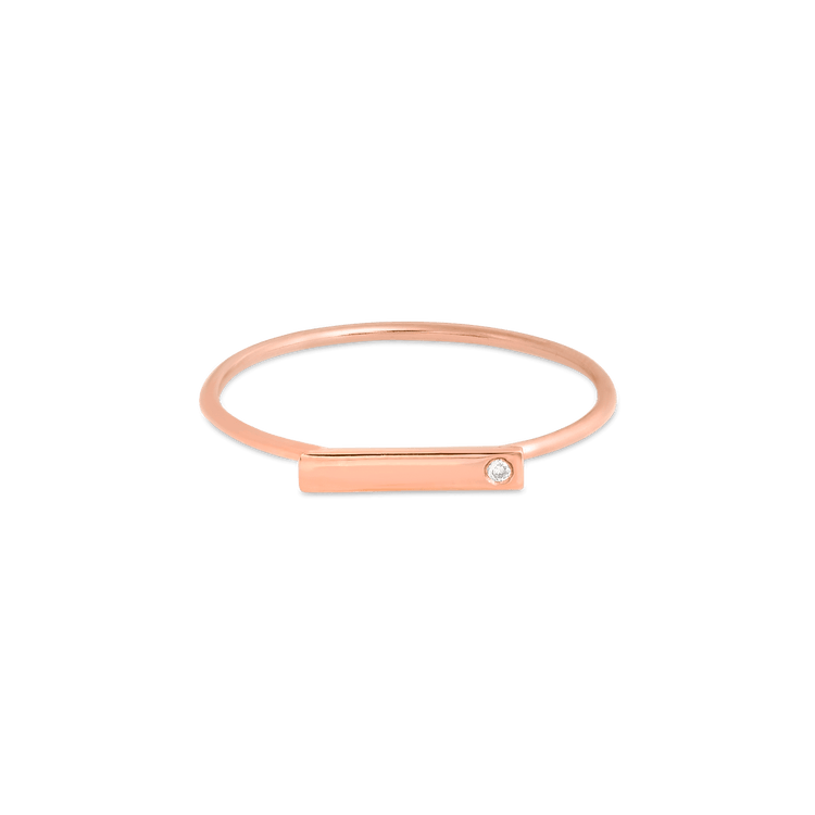 Rose Gold Horizontal Bar Ring with Diamond