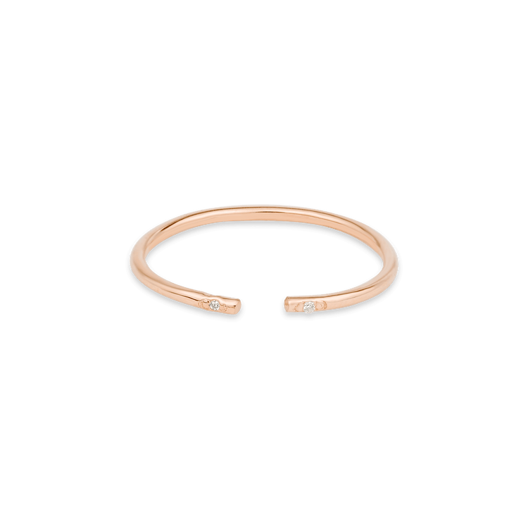 Rose Gold Open Arc Ring with Diamonds