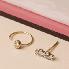 Tiny Diamond Open Huggie Earring - Left