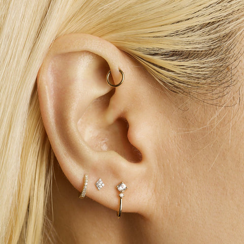 Pave Diamond Shape Stud Earrings
