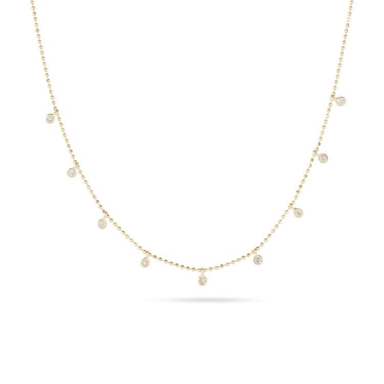 Teeny Dangling Diamond Bead Chain Necklace