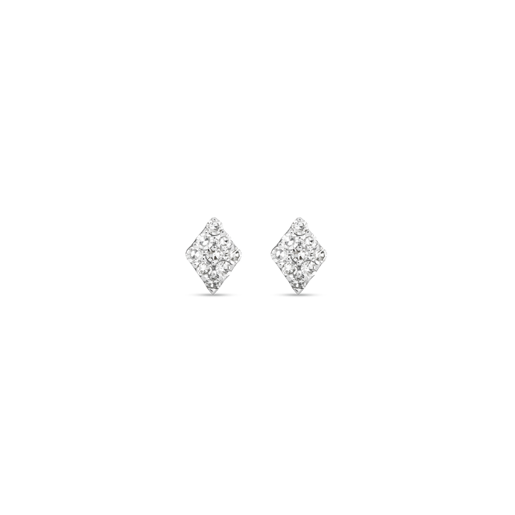 White Gold Teeny Pave Diamond Shape Stud Earrings