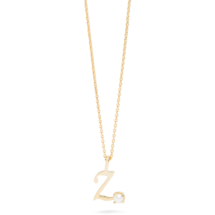 Teeny Pearl Cursive Initial Necklace