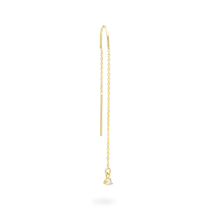 Tiny Diamond Prong Threader Earring