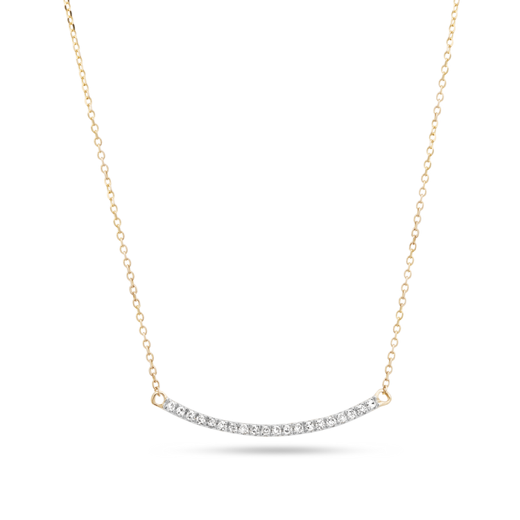 Tiny Pave Diamond Curve Bar Necklace