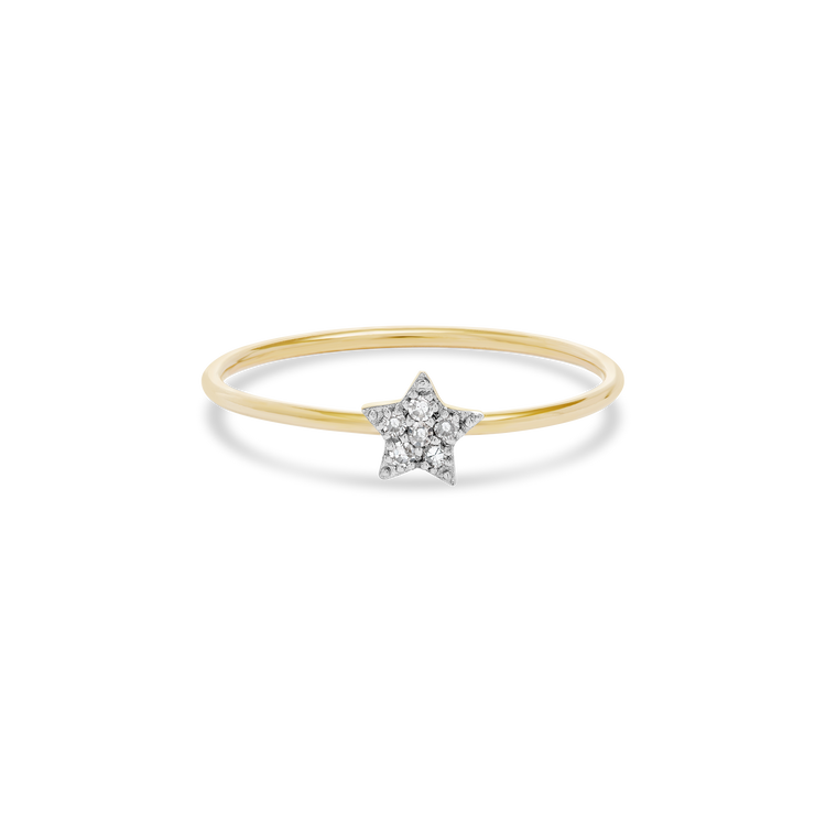 Tiny Pave Diamond Star Ring