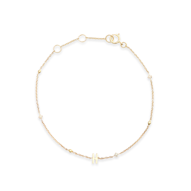 Tiny Pearl and Gold Bead Initial Bracelet