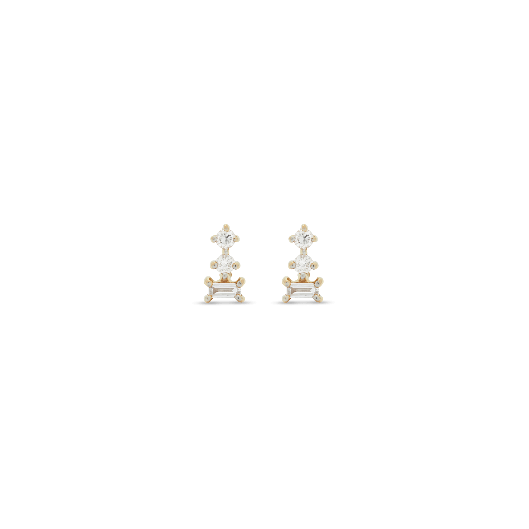 Triple Stacked Diamond Studs