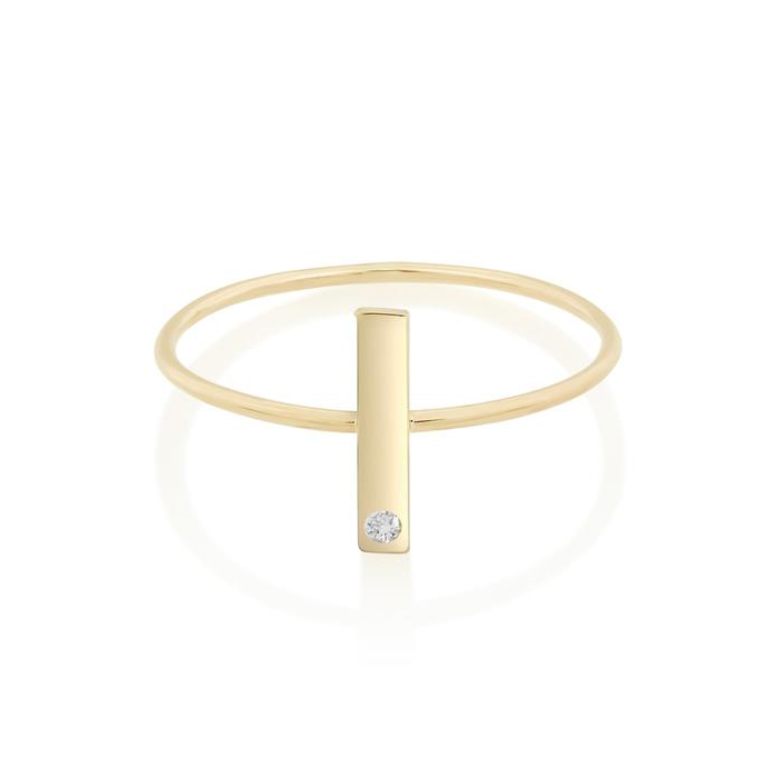 Vertical Bar Ring with Diamond - STONE AND STRAND