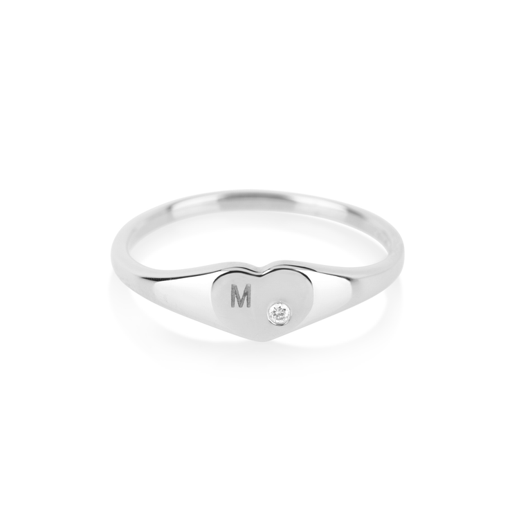 White Gold Heart Signet Ring With Diamond