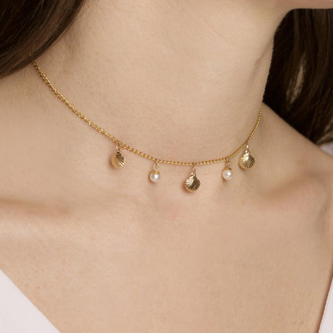 Gold Filled Mermaid Dreams Pearl and Shell Choker