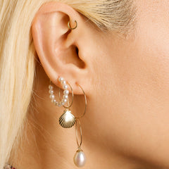 Gold Filled Mermaid Dreams Pearl and Shell Earrings, on body