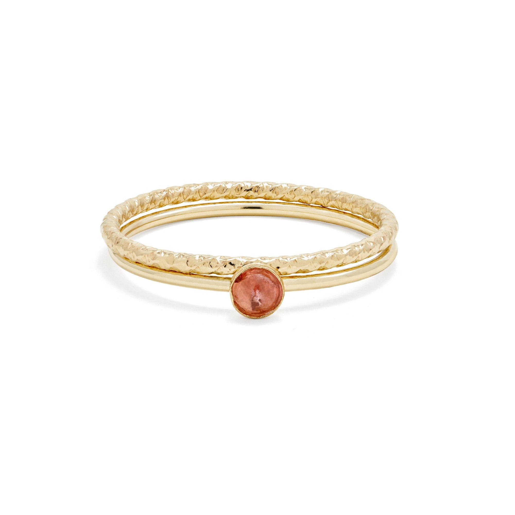 Gold Filled Pink Tourmaline Textured Ring Duo