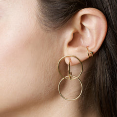 Gold Vermeil Double Hoop Huggie Earrings
