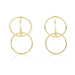 Gold Plated Double Hoop Huggie Earrings