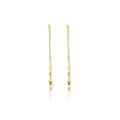 Gold Vermeil Star Charm Hoop Earrings