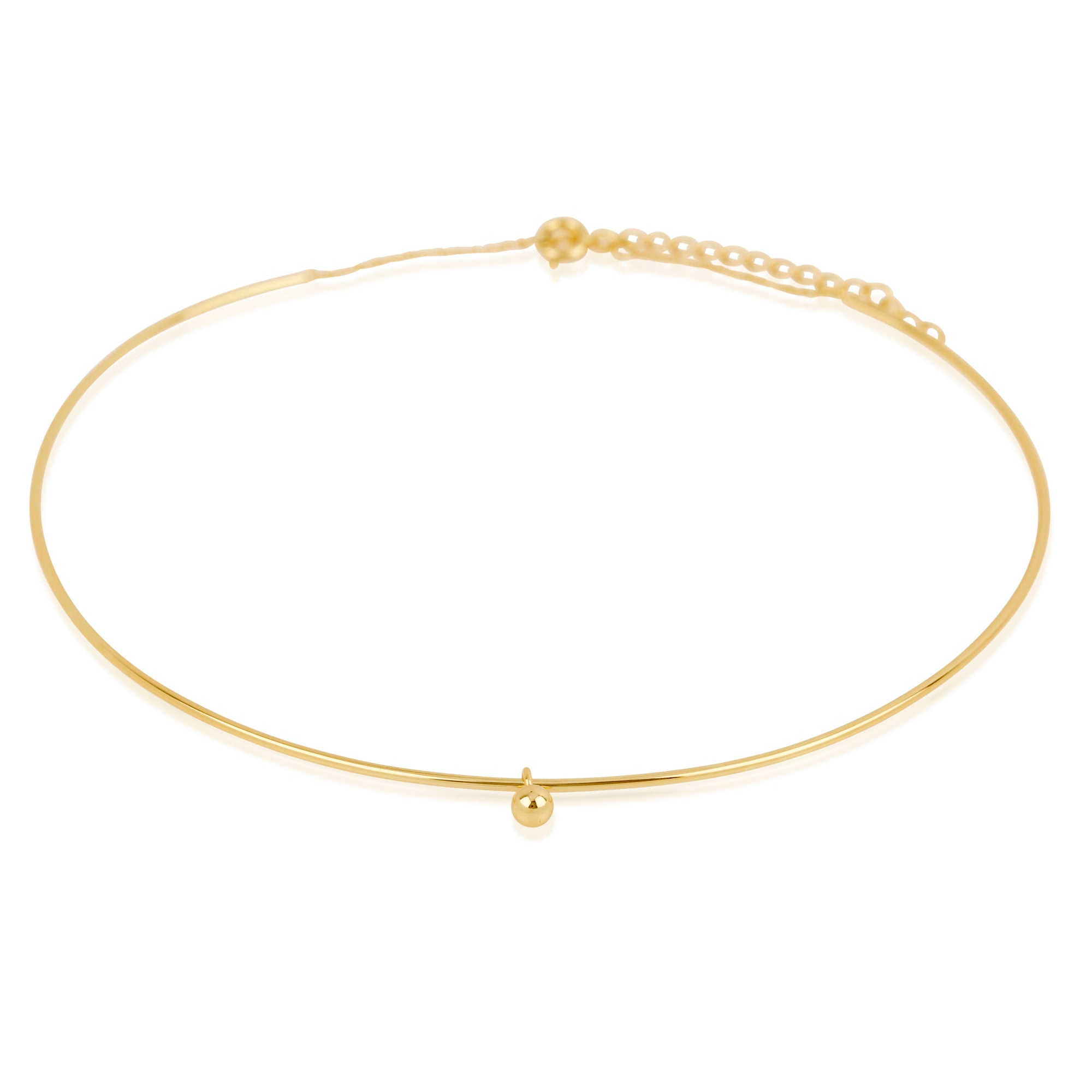 Gold Plated Wire Choker With Ball Charm