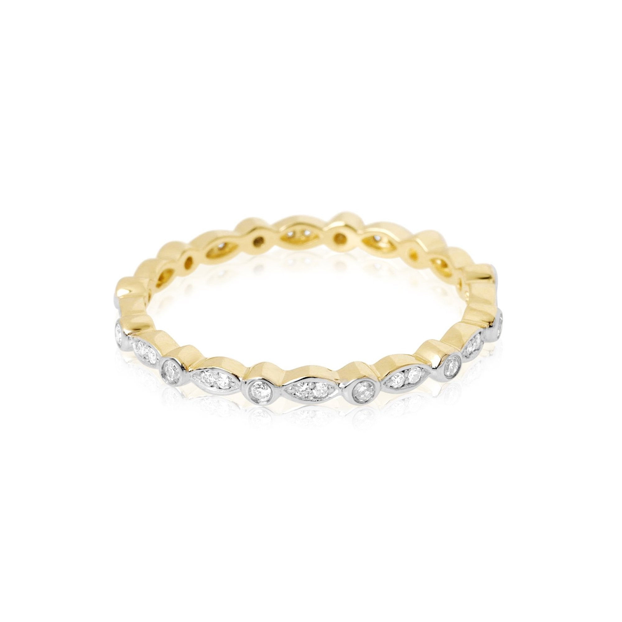 Marquise and Round Shape Pave Diamond Eternity Band