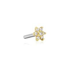 16 Gauge Gold Diamond Flower Threaded Stud with Titanium Closure