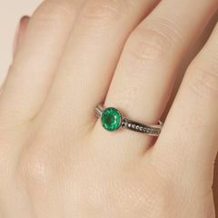 Diamond Pave Double Band Bezel Set Emerald Ring