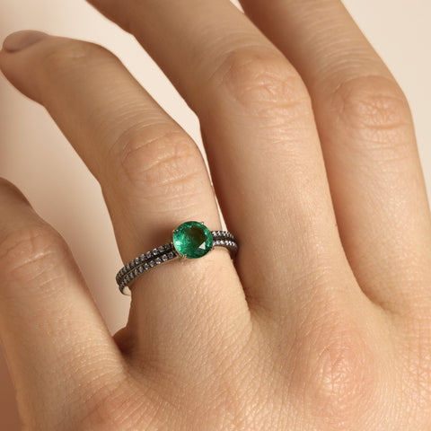 Double Diamond Pave Band Round Emerald Ring