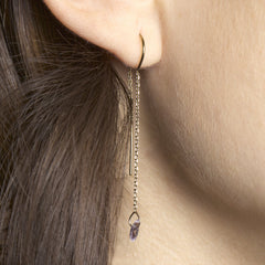 Pink Drilled Sapphire Threader Earring - STONE & STRAND